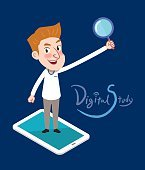 Drawing flat character design business e-learning concept