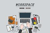 Drawing flat design illustration workspace concept,web banners, promotional materials