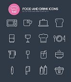 Set of 16 Food And DrinkModern Line icons