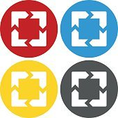 Chevron Chart icon on circle buttons.