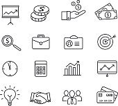 Business icons - productivity, management, thin lines style.