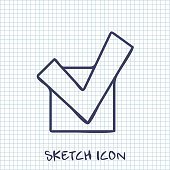 Vector sketch icon of check