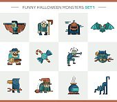 Set of Halloween line flat design modern icons and characters