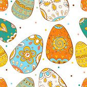 Happy Easter. Vector seamless pattern. Easter eggs.