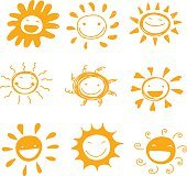 sun smile diversity hand drawn cute set vector