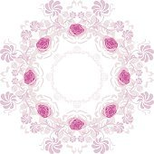 Ornamental purple circular element with roses