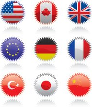 Glossy flag stickers