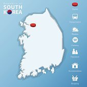 Seoul city, Republic of South Korea map. infographic, Vector, Illustration