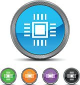 Computer Chip icon on circle buttons.