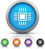 Computer Chip icon on round buttons.