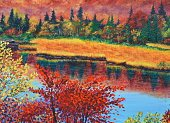 river in fall oil painting on canvas