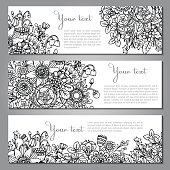 Three vector templates with beautiful monochrome floral pattern