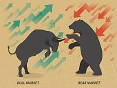 Stock market concept bull and bear on brown paper