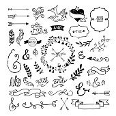 Hand drawn design elements collection: wreaths, florals, ribbons, ampersands, arrows