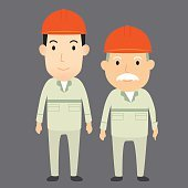 Young man and old man engineer cartoon character