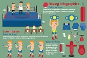 Boxing infographics elements, vector illustration.