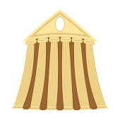 Greek temple of cartoon style on a white background.
