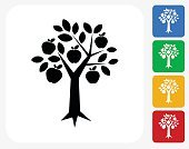 Apple Tree Icon Flat Graphic Design
