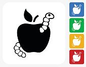 Worm in Apple Icon Flat Graphic Design