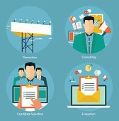 Flat design concepts for promotion, candidate evaluation and email marketing