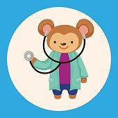 animal monkey doctor cartoon theme elements