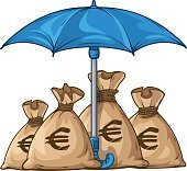 Umbrella protecting sacks with money currency dollar