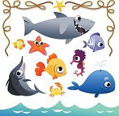 Vector Set of cute sea animals and rope frame