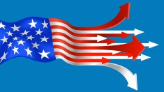 Illustration of American flag with arrows
