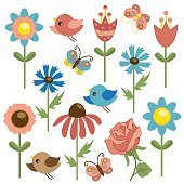 Flower, bird and butterfly vector illustration