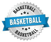 basketball 3d silver badge with blue ribbon