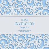 Vector Blue 3d Vintage Christmas or Invitation Cards Background