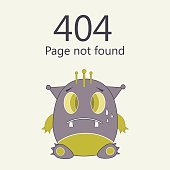 error page not found, cute monster concept