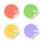 Infographics Design template.   Numbered circle color  infographic, sticker for graphic