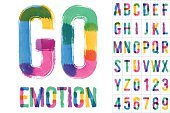 Vector set of colorful brush font