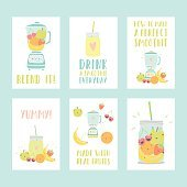 Set of six different smoothie cards