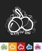acorns paper sticker with hand drawn elements