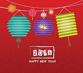 happy chinese new year 2016 background with lantern