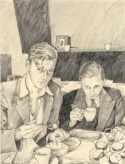 Two Young Men eating