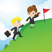 Cartoon illustration businesspeople teamwork