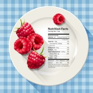 Vector of Nutrition facts in raspberries on white plate