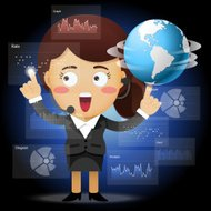 business woman with globe working with data processing