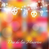 Dia de los muertos, Halloween card, with lights, sculls, flags