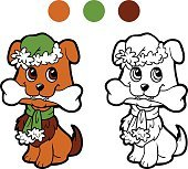 Coloring book: Christmas winter dog. Game for children