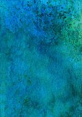 Dark blue and green hand painted textured background
