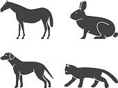 Silhouettes of figures animals icons set