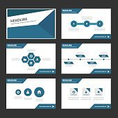 Blue Multipurpose Infographic elements presentation template flat design set