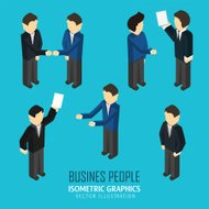 Business people in an isometric view.