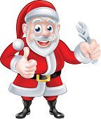 Cartoon Santa Thumbs Up and Holding Wrench Spanner