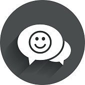 Chat Smile icon. Happy face symbol