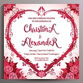 Romantic Wedding Invitation. Floral square card 14.5 cm